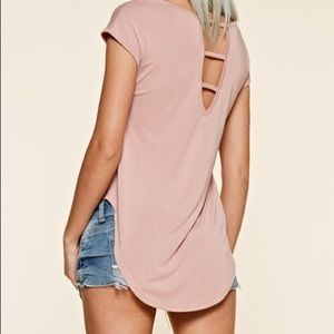 belleamejanice Tops - Cap Sleeve Tee High Low Cut Out Back